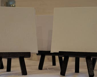 5 Small Table Top Easel With Blank Canvas