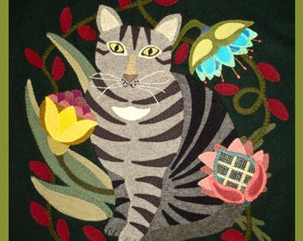 Victorian Tabby PATTERN Wool Applique: Whimsical, Primitive, Cat, Flowers, Colorful - You get FREE SHIPPING