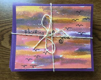 Set of 10 Thinking of You Sunset Cards with Envelopes