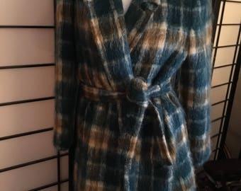 Adolph Schuman for Lilli Ann Plaid Mohair Coat Size 12