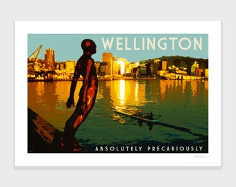 Wellington Sunrise Print, New Zealand Art, Travel Posters, Retro, Wall Art, Gift, Home Decor, NZHolidayArt