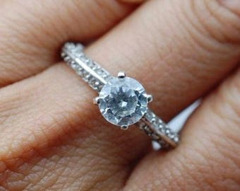 CZ Solitaire Engagement Ring w/Double Row of CZ Accents Sz 8.5 Sterling Silver 925