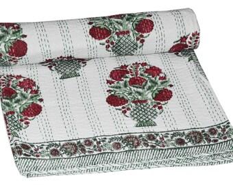 Handmade Kantha Quilt Vintage Queen Bedspread Throw Cotton Blanket  Throw Indian Quilt
