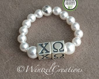 Chi Omega Ring - Pearl stretch ring - Sterling Silver beaded ring - Chi Omega Pearl Ring- Greek Licensed