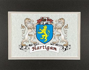 """Hartigan Irish Coat of Arms Print - Frameable 9"""" x 12"""""""