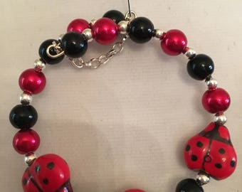Ladybug, red and black bead, glass pearl,silver bead bracelet and earrings set