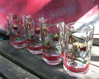 Vintage 1960's Early American Glass Mugs