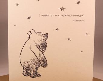 Winnie the Pooh Birthday Anniversary Card - Girlfriend wife husband boyfriend friend sentiment