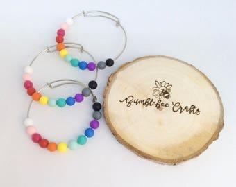 Rainbow Bangles - lightweight bangles - silicone bead bangles - rainbow bracelet - rainbow jewellery - modern - Mummy & Me sets