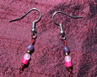 Pink and Purple Wood and Amethyst Earrings