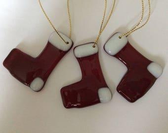 Set of three fused glass stockings