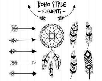 INSTANT DOWNLOAD - Boho Style Svg, Boho Dreamcatchers and Feathers, Bohemian Svg, Boho Clipart, Bohemian Clipart, Boho Style Cut File, Boho
