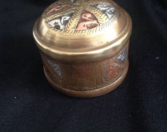 Beautiful brass box with a surprise, box in box in box. With bottom a little elephant.
