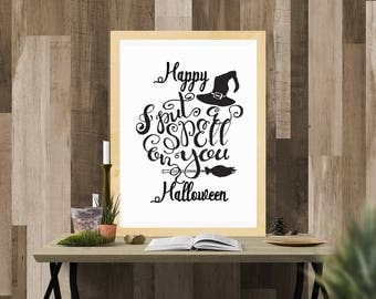 Halloween Printable / I Put a Spell On You Black / Ready to Print Digital Download / Size 8x10 300 DPI / Halloween Wall Art and Printable