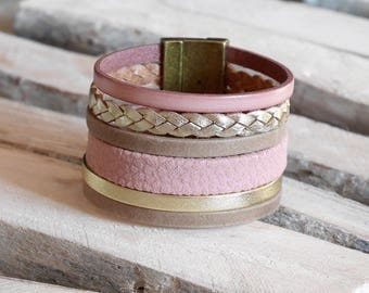 Pink leather powder, gold and taupe (BR106) Cuff Bracelet