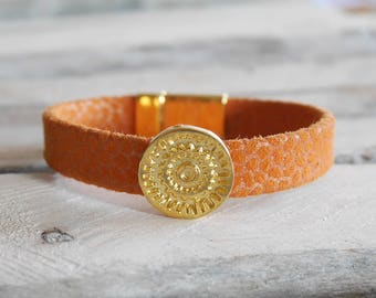 SALES from and orange Leather Bracelet gold plated (br91orrgefonce)
