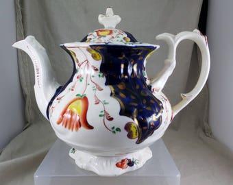 Stunning Gaudy Welsh Tulip Pattern Teapot c 1845