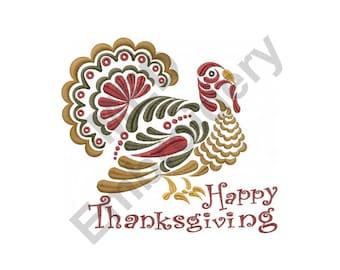 Turkey - Machine Embroidery Design, Thanksgiving Turkey, Happy Thanskgiving