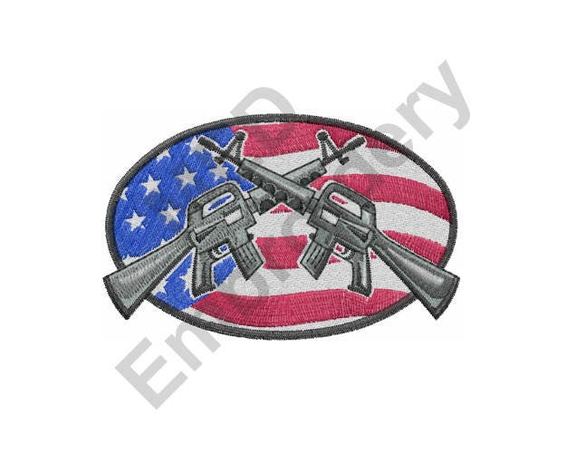 Guns machine embroidery design american