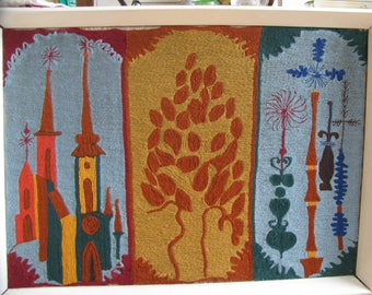 Mid Century Danish Modern Hand woven and stitched wool fiber/ textile paintings is wonderful gift .