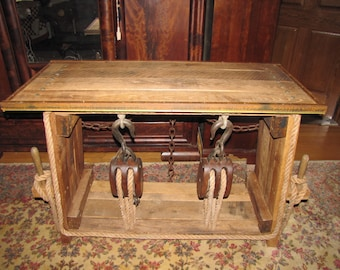 Antique Block and Tackle Nautical Table