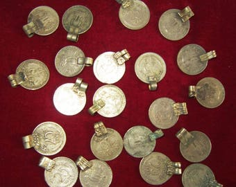 100 VINTAGE Banjara Tribal Kuchi COINS with loops LOT Belly dance