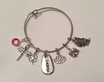 "Pink Tourmaline ""Cherish"" Bangle Charm Bracelet"
