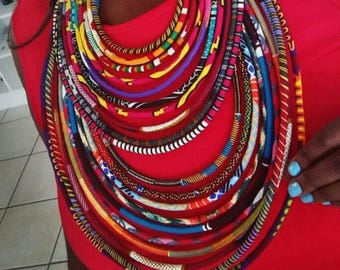 Multi strand shwe shwe African necklace