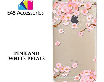 PINK And WHITE Petals Floral Flower Hard Case for iPhone 5S 5 SE, iPhone 6S 6 or iPhone 7