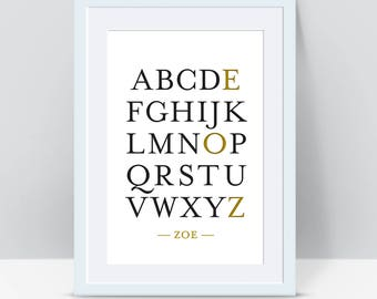 Personalised Alphabet Print A4, A3