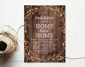 House Warming Invitation, House Warming Party Invite, Home Sweet Home, Wood New Home Invitation, PERSONALIZED, Digital file, #H04