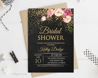 Bridal Shower Invitation, Floral Bridal Shower Invitations, Chalkboard Bridal Shower Invitation, PERSONALIZED, Digital file, #D17