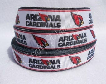 "LAST CUT of Arizona Cardinals NFL Football Team 7/8"" Grosgrain Ribbon  10 yards."