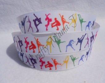 "LAST CUT of Figure Skating or Ice Skating Silhouette Sport 7/8"" Grosgrain Ribbon 10 yards. Multicolor"