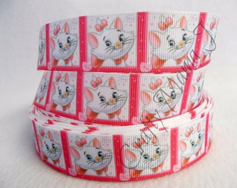 "Marie Kitty from Aristocats Disney Cartoon on 1"" Grosgrain Ribbon by the yard. Choose 3/5/10 yards. Pretty White Kitty"