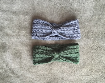 Turban style headband with tie in the middle