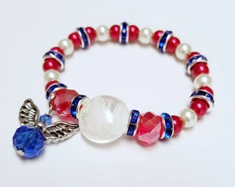 Miss Independence bracelet, Patriotic, 4th of July, red, white, blue, angel, america, kids jewelry, pearls, sparkle, glass beads