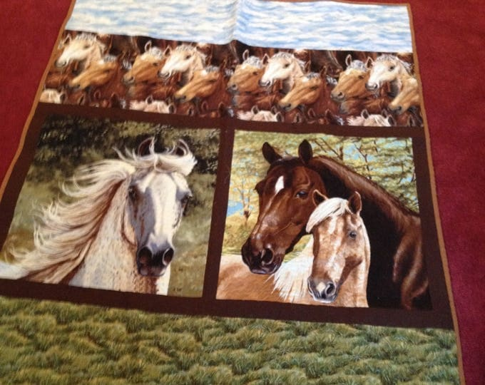 Horses Panel Quilt, Throw 42 x 52 inch, Horse Lovers Quilt for Kids and Teens, Adult Horse Lap Quilt