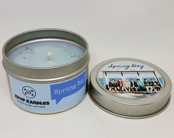 Spring Day- 4OZ- Scented Candle- BTS- Kpop- Bangtan- Bangtan Boys- OT7- Soy Candle- Kpop Merch- Kpop Gift- Hallyu- Korean