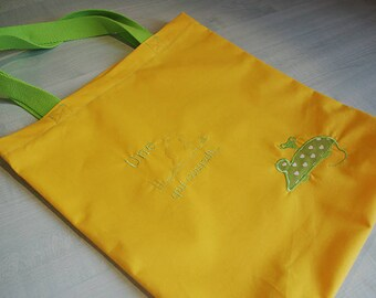 Tote bag, Sunshine yellow 100% cotton tote bag embroidered green mouse