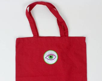 Red Cotton tote bag, market shopper, with embroidered patch