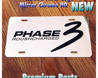Ford Mustang Shelby Roush Charged Phase 3 Custom License Plate Mirror Chrome Carbon Vinyl Logo New