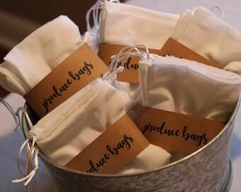 Produce Bags - Reusable, GOTS Certified Organic Cotton, Set of 3