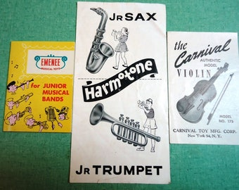 Vintage Child's Toy Musical Instrument Instructions Product Ad Booklet