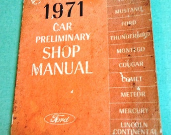 1971 Ford Car Preliminary Shop Manual, Vintage Ford Car Book, Vintage Car Book, Vintage Auto Book, Auto Manual, Car Manual, Ford Book