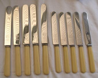 Set of eleven vintage Firth stainless SM&Co Ld faux bone handle knives.