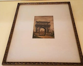 Roman ruins paintings c1940 -originals Three vintage