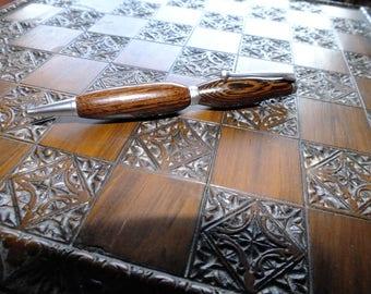 Hand Turned Panga Panga hardwood Pen with Satin Silver fittings