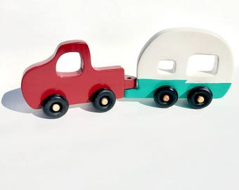 Wood Toy set, truck and trailer toy, vintage camper toy, rv toy, camping trailer toy, wood truck toy, wood trailer toy, push along toy, toy