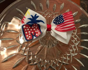 Hand painted 4 inch 4th of July Bow